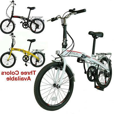 "Xspec 20"" 7 City Folding Compact Bike Commuter White"