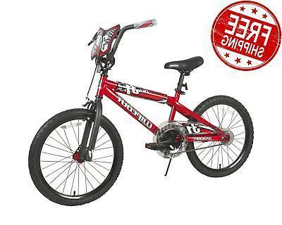 20 inch bike boys red freestyle bmx