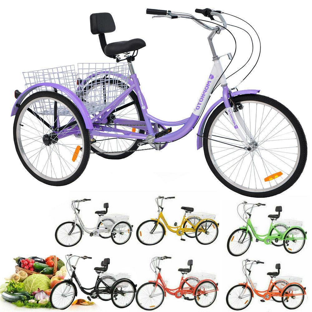 3-Wheels Bike Trike 16/20/24/26inch Adult Tricycle 1/7-Speed