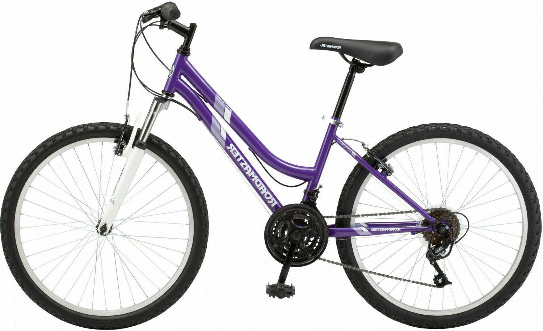 24 Inch Girls Women Mountain Bike Purple Steel Frame 18 Spee