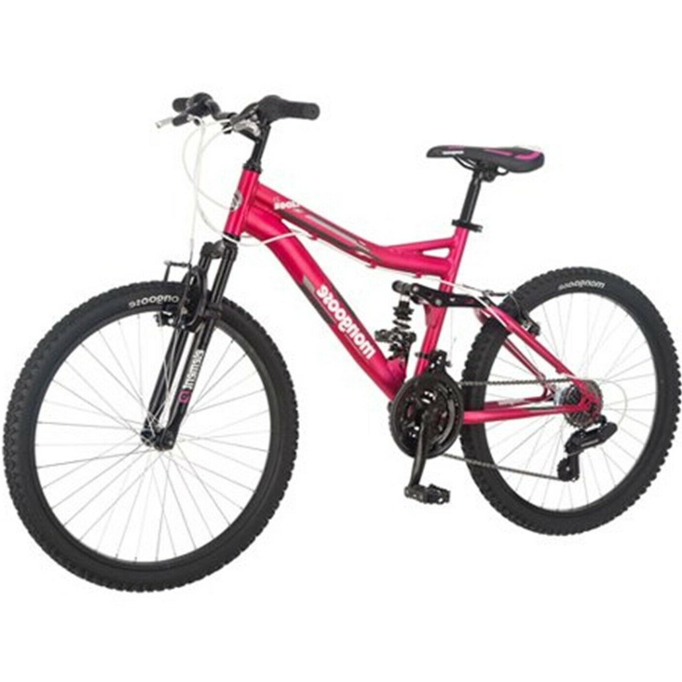 "24"" Mongoose Ledge 2.1 Girls Mountain Bike Pink Padded Seat"