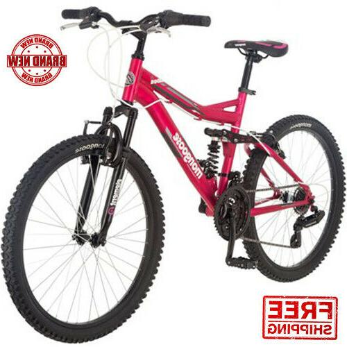 24 Mongoose Mountain Bike Ledge 2.1 Girls Adult Suspension 2