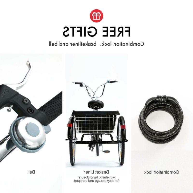 """26""""/24""""/20"""" Speed Trike 3-Wheel w/Basket"""