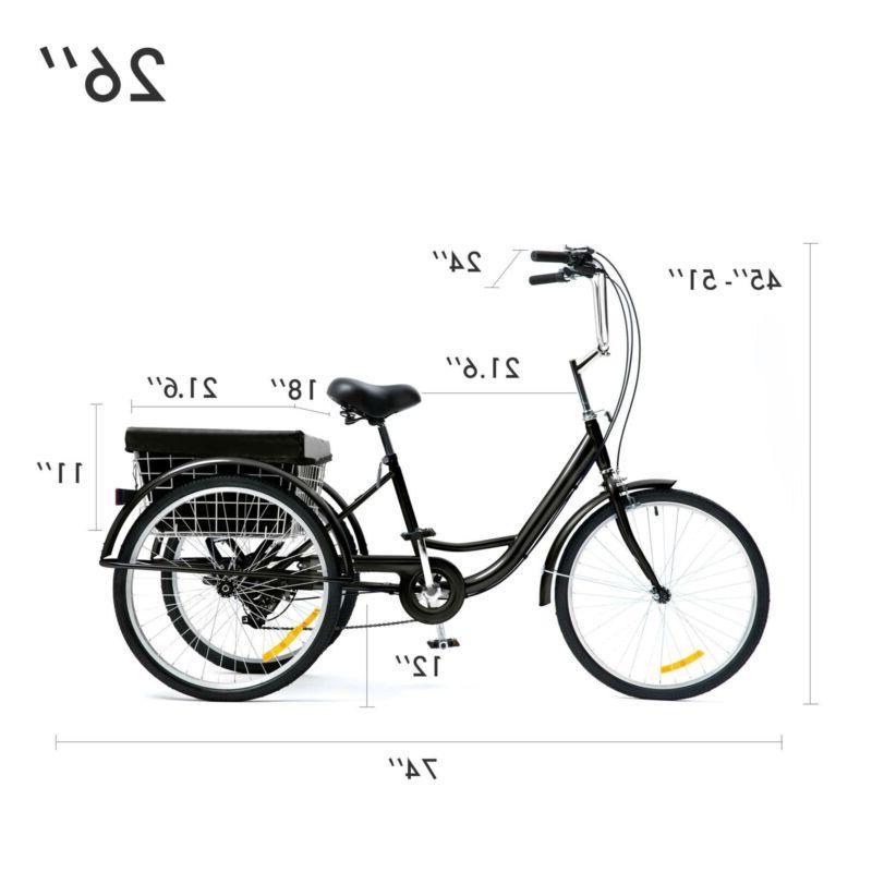 "26""/24""/20"" Trike 3-Wheel w/Basket Shopping"