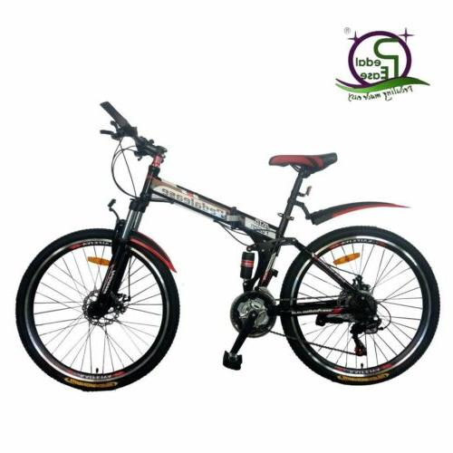 "Pedalease 26"" Folding mountain bike mudguards, disc brake, suspension,tool kit"