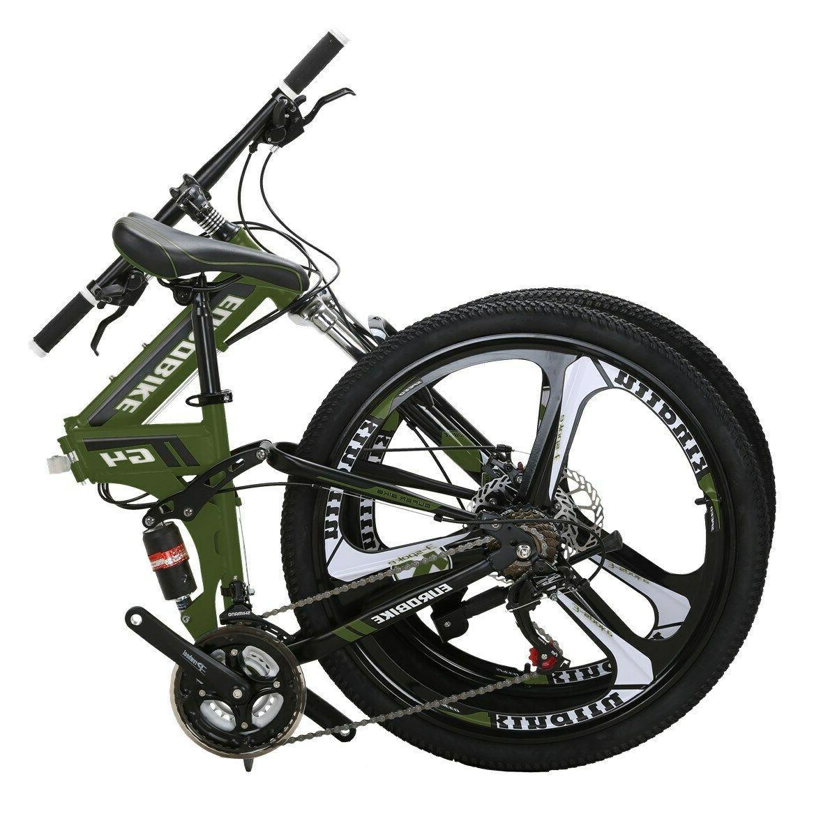"""G4 26"""" Folding Mountain Bike Shimano 21 Speed Bicycle Full S"""