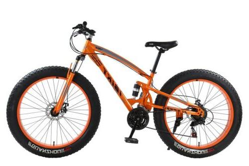 26 4.0 Fat Bike Snow Sand Dual Shock Suspension MTB