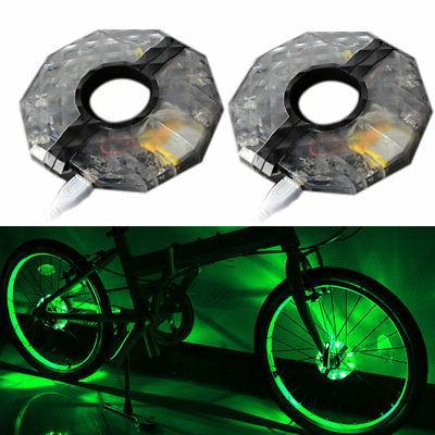 2pcs Bike Wheel Hub Light Rechargeable LED RGB Waterproof Bicycle Safety Light