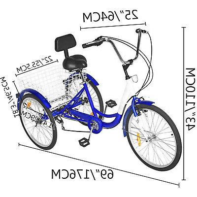 "3-Wheels 24"" Adult Tricycle 7-Speed Shimano Basket Blue"