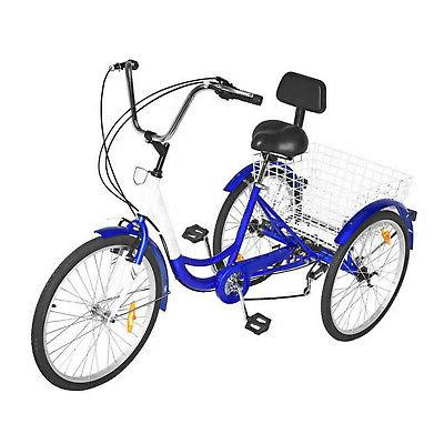 3-Wheels Tricycle Basket Blue