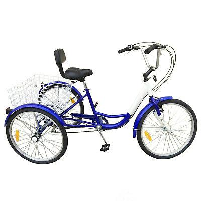 "3-Wheels Trike 24"" Tricycle 7-Speed Basket Blue Bicycle"
