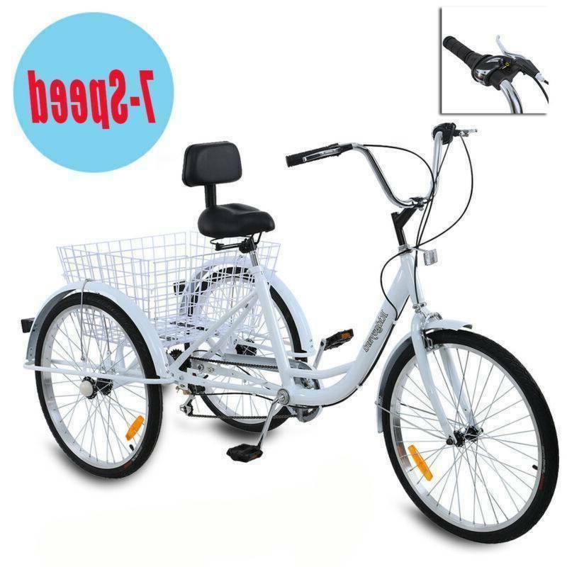 adult 24 3 wheel white trike bicycle