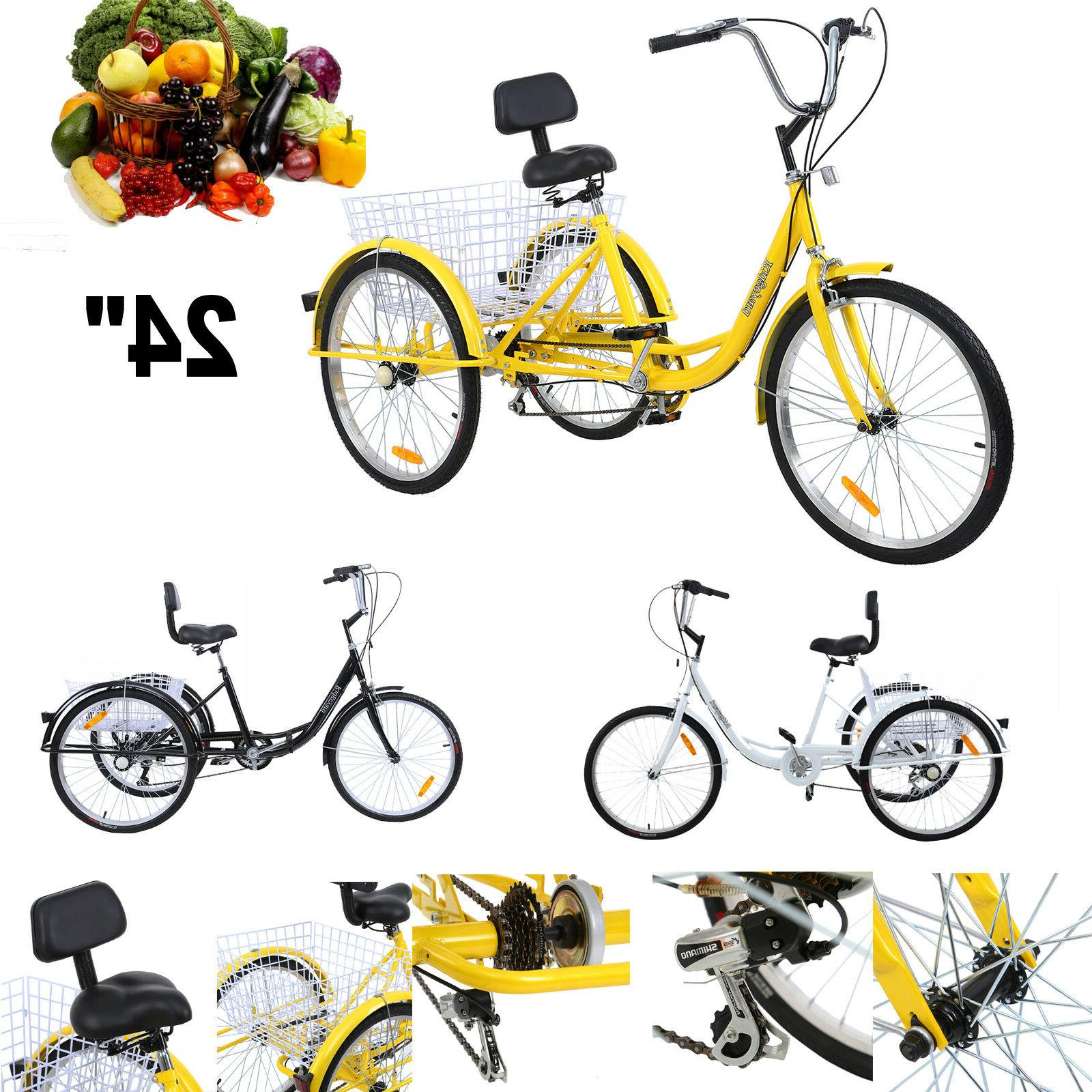 "Adult 7-Speed Adult24"" 3-Wheel Tricycle Trike Bicycle Bike C"
