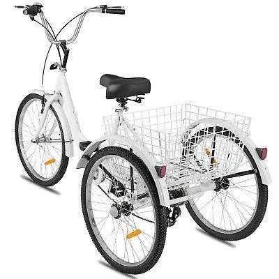 """Adult Tricycle 24"""" 7-Speed Bike Tricycle V-brake"""