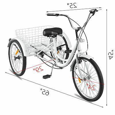 "Adult Trike 24"" 7-Speed Tricycle 240Lbs"