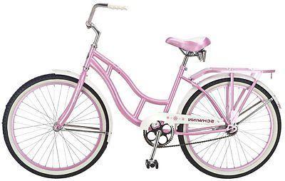 Beach Cruiser Bike Outdoor Girls 24 Inch Bicycle Padded Sadd