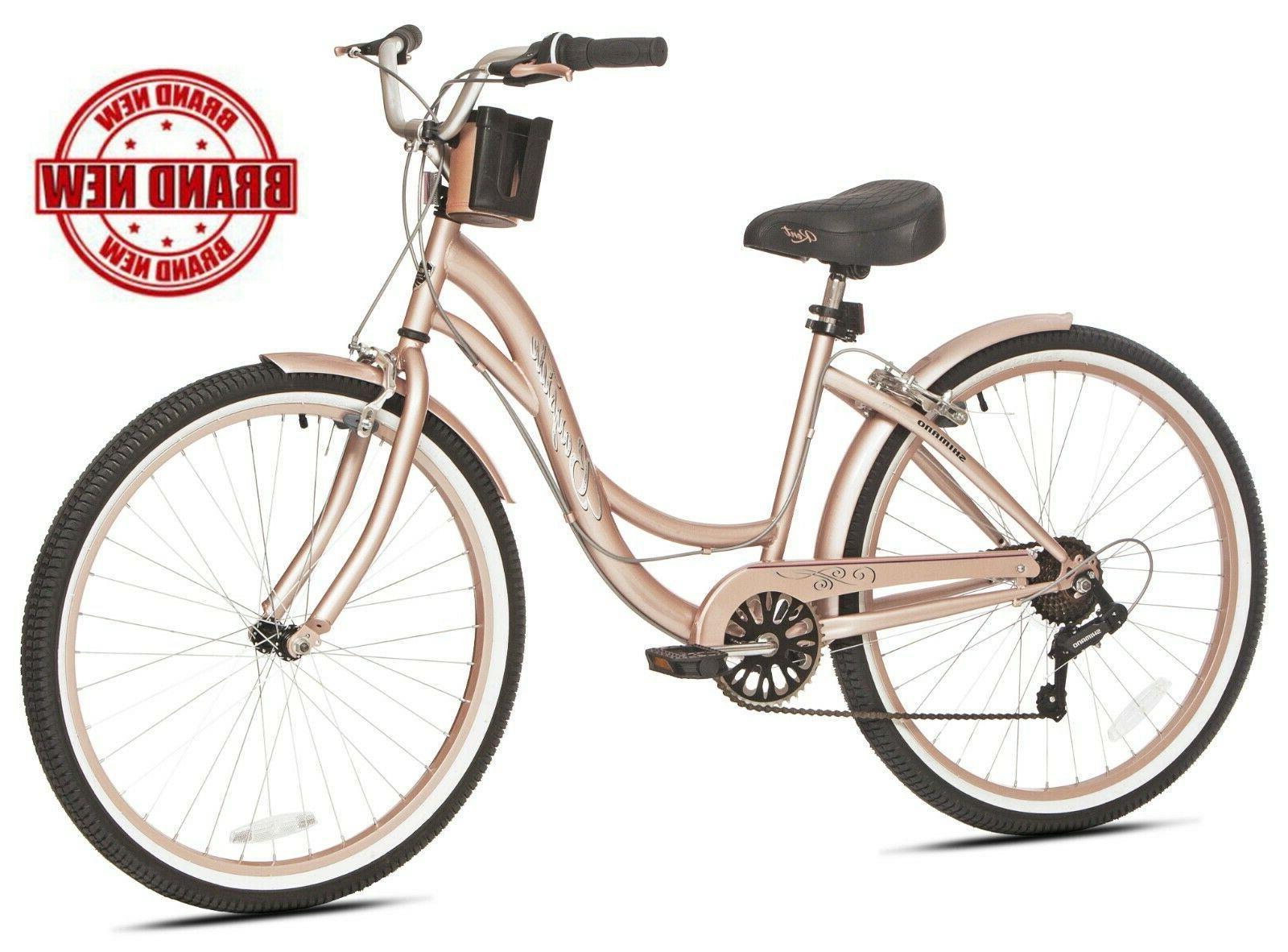 "Beach Cruiser Bike Women's 26"" Rose Gold Hybrid Low Step"
