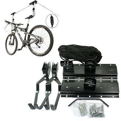 Bike Bicycle Hanger Pulley Rack Hoist Storage Garage Lift Ce
