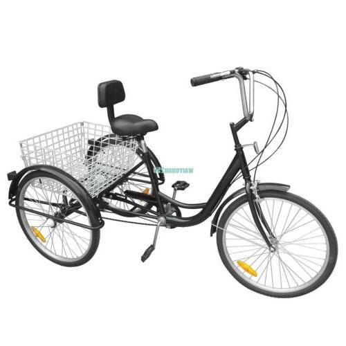 """Black 3-Wheel 6-Speed Adult 24"""" Tricycle Bike Bicycle Trike"""