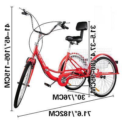 Foldable Adult 24'' Wheels 3 Wheel