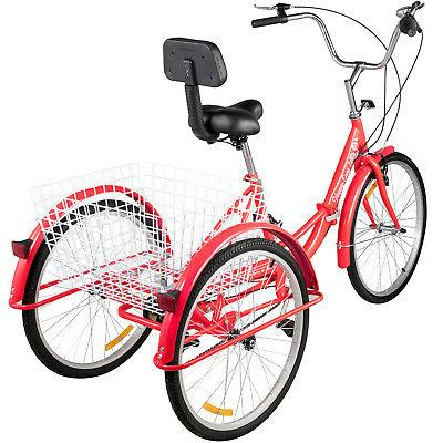 Foldable 24'' Wheels Tricycle 7-Speed 3 Red Bikes