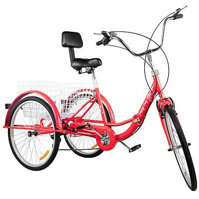 Foldable Tricycle 24'' Wheels Adult Tricycle 3 Wheel Red Bikes