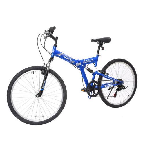 "26/"" Mountain Bike Hybrid Bike 21 Speeds Green Full Suspension Shimano Medium"