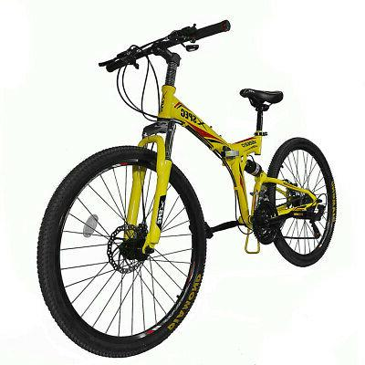 "26/"" 21 Speed Folding Mountain Bike Bicycle Full Suspension Trail Commuter USA"