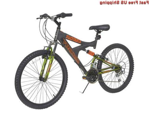 gauntlet boys dual suspension 21 speed bike