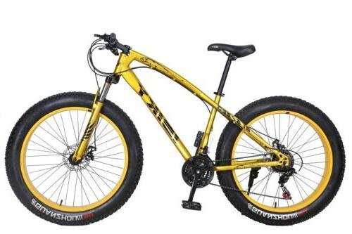 "26"" Fat Mountain Bike Snow Fatbike Gold"