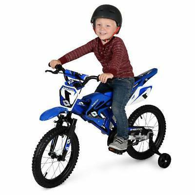 Boys Girls Blue Moto Bike BMX
