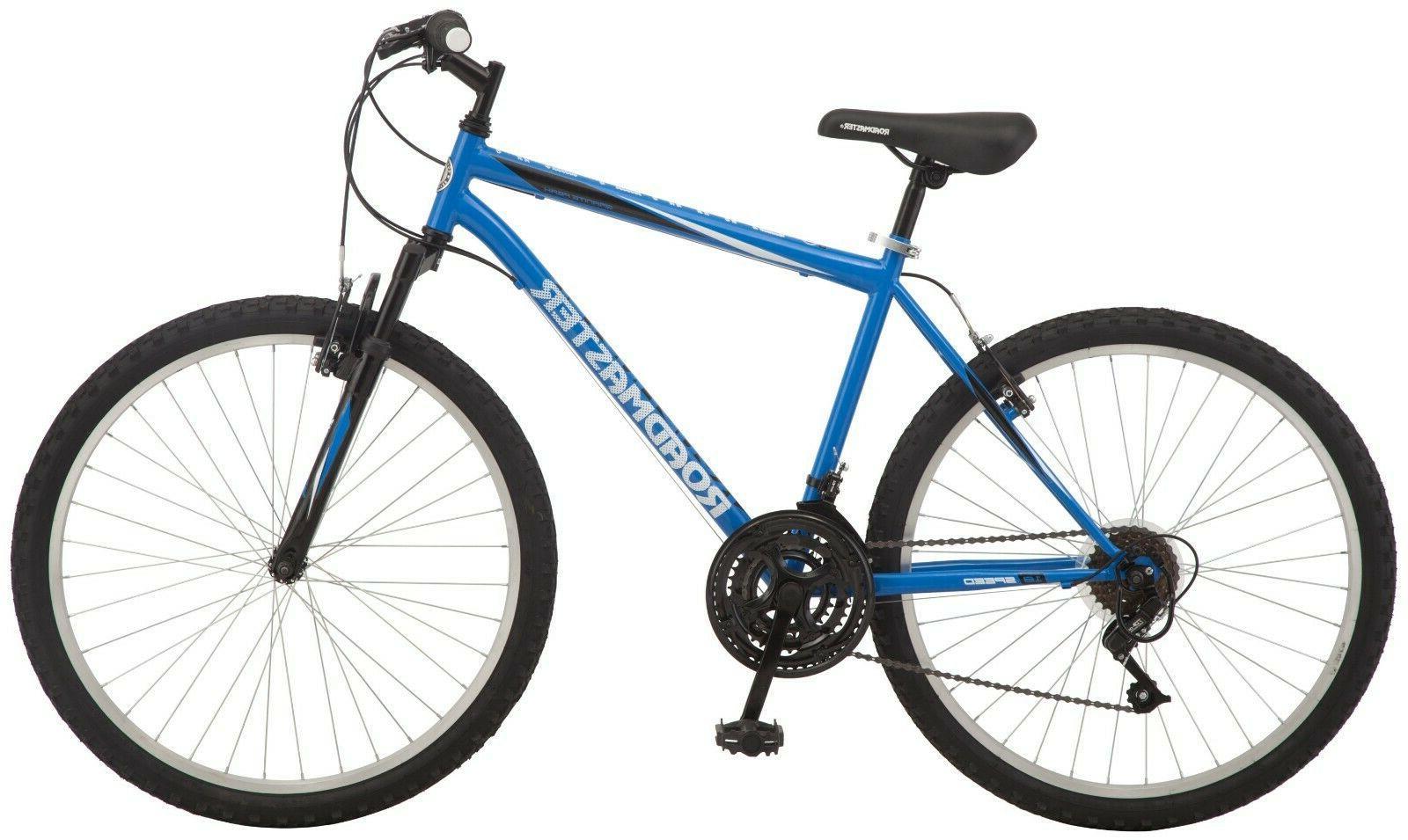 "8-speed Men's Mountain Bike 26"" wheels, Blue Front and Rear"