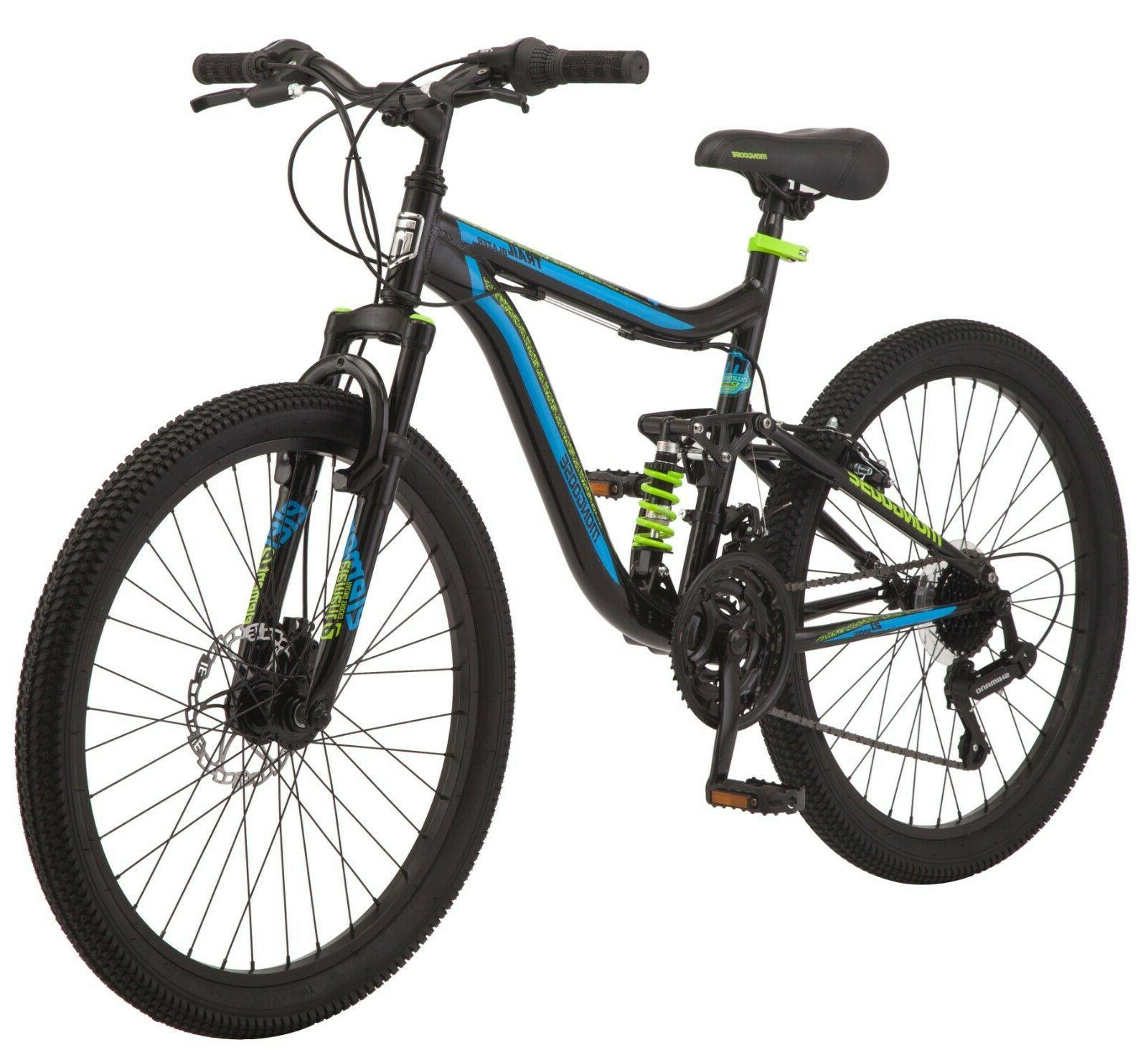 "24"" Mongoose Boys Trail Blazer 21 Speed Mountain Bike Full D"