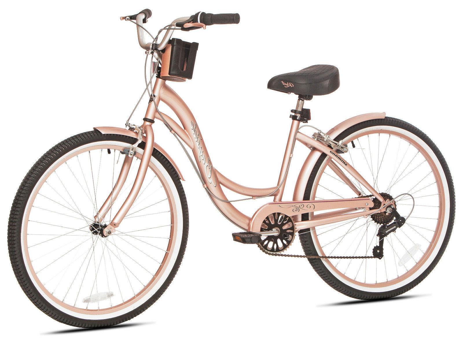 "NEW 26"" Kent Bayside 7 Bicycle Shimano Frame Gold Cruiser"