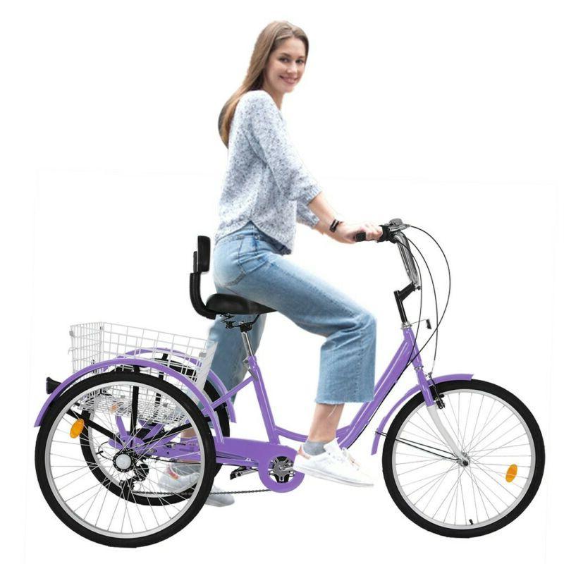 """24"""" 7 Speed Adult Trike Tricycle Adjustable 3-Wheel Bike w/B"""