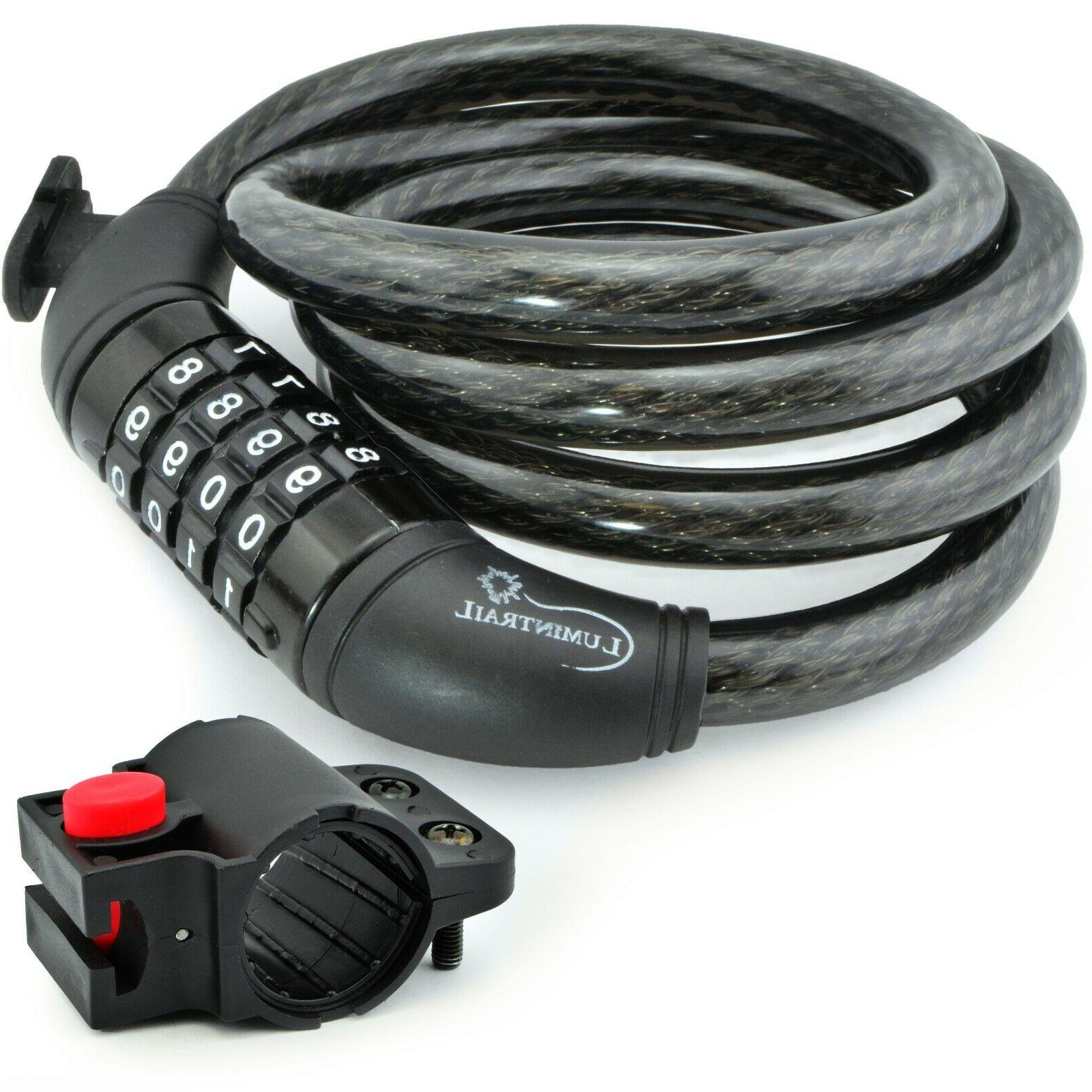security 4 digit combination bike cable lock