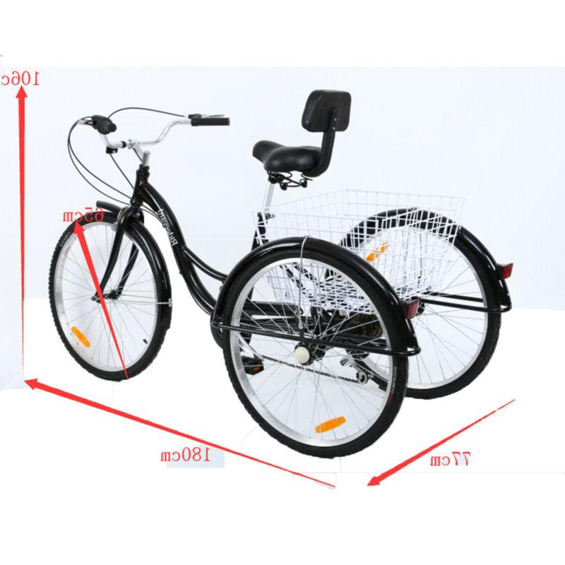 7-Speed Tricycle Trike Bicycle Cruise Adjustable Seat
