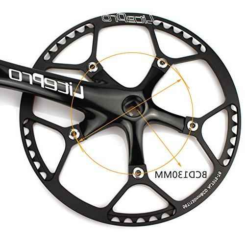 Single 56T 170mm Crankarms BCD Crankset Protective for Speed Track Bicycle, Gear, Fixie,