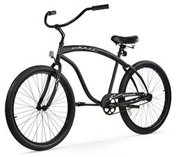 Men's Matte Black Beach Cruiser Bicycle