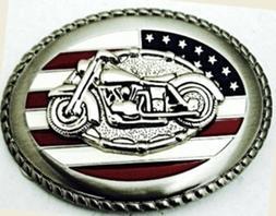Motor Bike in Usa Flag Belt Buckle.