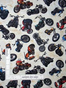 Motorcycle Chopper Bikes Toss Cream Ecru Cotton Fabric QT Ea