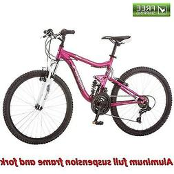 "Mongoose Mountain Bike 24"" Pink Girl Aluminum Trail Ride B"