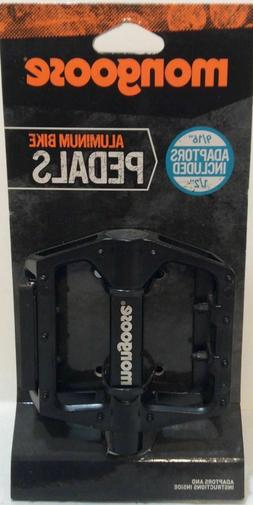 "NEW MONGOOSE ALUMINUM BIKE PEDALS INCLUDES 9/16"" AND 1/2"" IN"