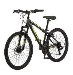 """*NEW* Mongoose Boys 24"""" Excursion Mountain Bike Black Neon Y"""