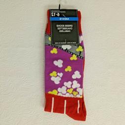 Novelty Dress Socks Popcorn Movie Time NEW Red Purple Shoe S