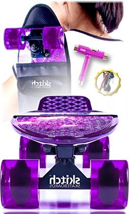 Pink Purple Penny Board Skateboard For Girls - Skitch Comple