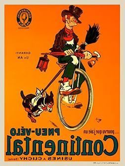 Pneu-Velo Continental Fine Art Vintage Bicycle Poster Print
