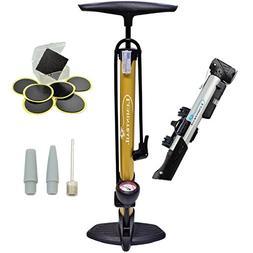 Lumintrail 160 PSI High Pressure Dual Valve Bike Floor Pump