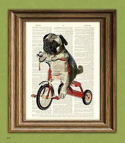CollageOrama Pug Art Print Mike the Trike pug dog on a tricy