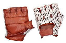 Kango Fitness Real Soft Leather Mesh Net Fingerless Driving